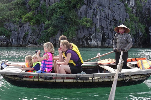 bamboo-boat-at-titop-island-superior-halong-bay-day-tour-6hours-cruise