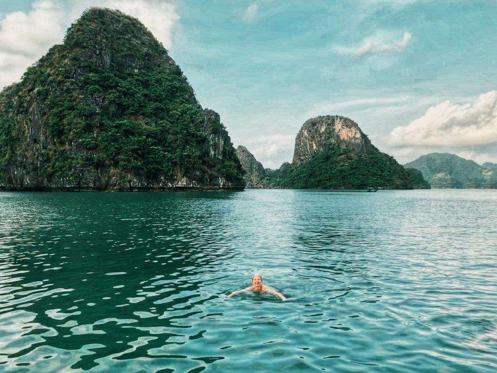 Summer-is-a-best-time-to-swim-in-halong-bay