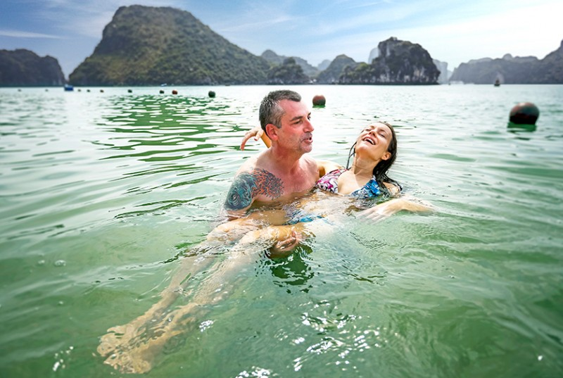 swimming-is-a-must-do-activities-in-halong-bay